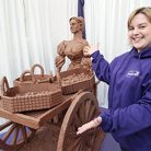 Prudence Sculpts a life size Cadbury Dairy Milk Molly Malone!